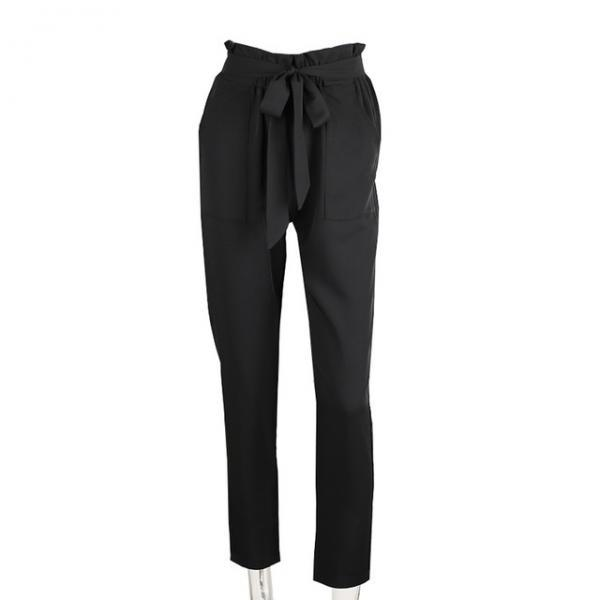 Women OL High Waist Harem Pants Stringyselvedge Summer Style Work Office Casual Trousers black