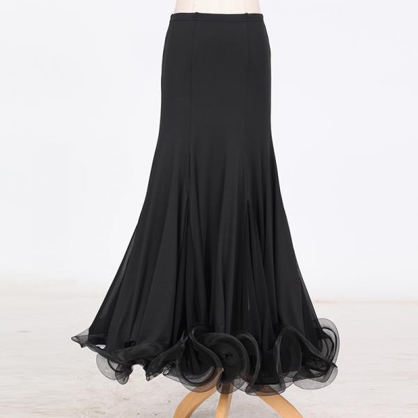 New Fashion Ballroom Dance Skirt Mermaid Ruffles Standard Modern Dance Waltz Tango Skirt black