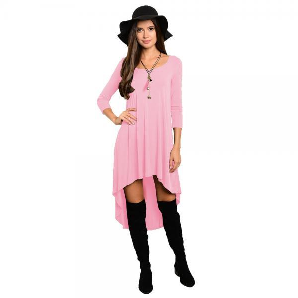 Comfortable Summer Casual Loose Dress Women Solid Long Sleeve O-Neck Asymmetrical Plus Size Dress pink