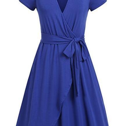 Women Summer Casual Dress V Neck Short Sleeve Belted A-line Wrap Midi Party Dress blue