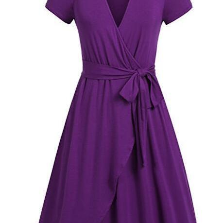 Women Summer Casual Dress V Neck Short Sleeve Belted A-line Wrap Midi Party Dress purple
