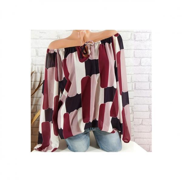 Off the Shoulder Chiffon Shirt Long Sleeve Casual Women Loose Blouse Summer Tops burgundy