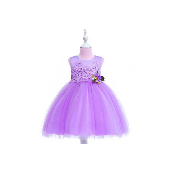 Pastoral Flower Girl Dress Lace Kids Princess Formal Birthday Party Gown Children Clothes lilac