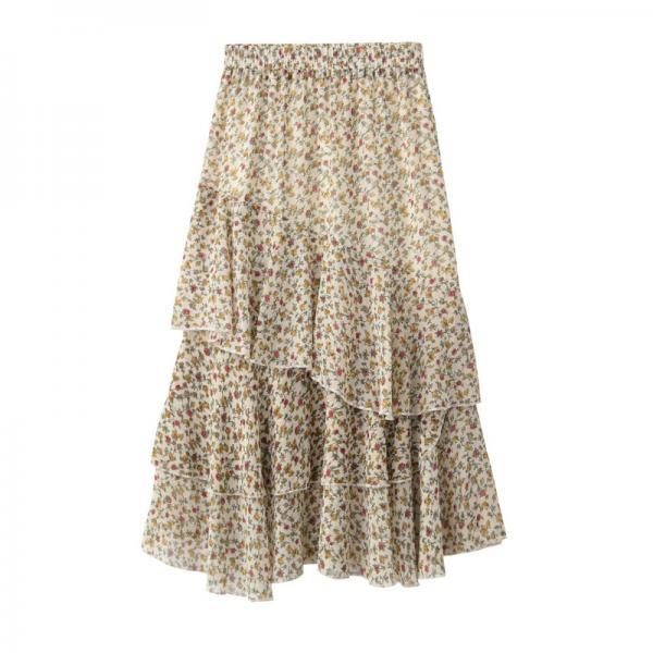 Women Asymmetrical Long Skirt Chiffon Summer High Waist Boho Floral Print Midi A Line Skirt apricot floral