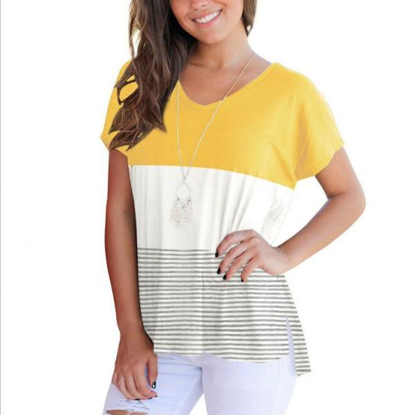 Summer Women T-shirt Short Sleeve Striped Patchwork Casual Girls Basic Tee Tops yellow
