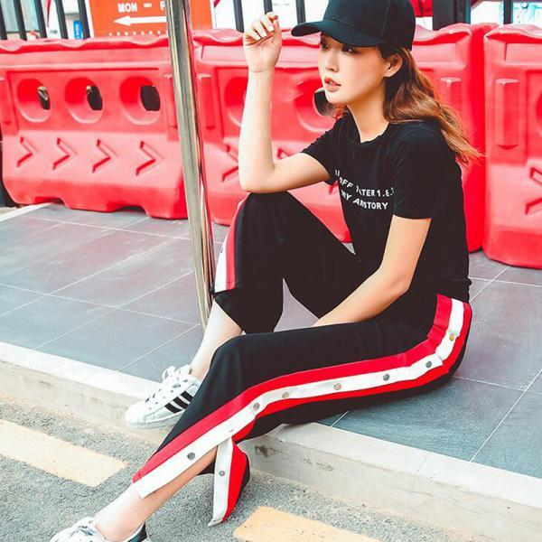 Women Wide Leg Button Track Pants Striped Patchwork Rivet Side Slit High Waist Summer Casual Long Trousers black+white+red