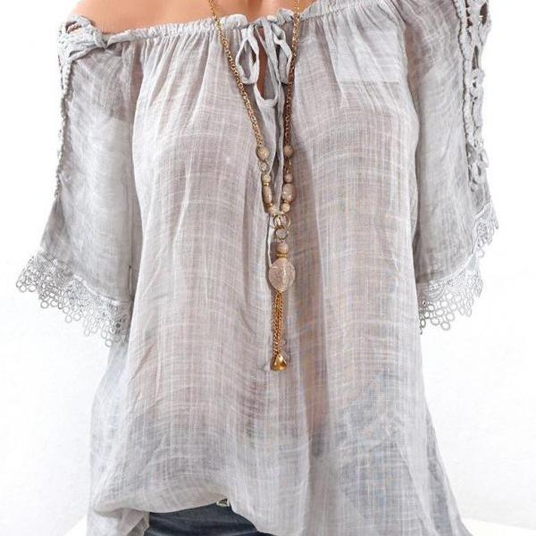Women Lace Patchwork T-Shirt Summer Short Sleeve Casual Loose Plus Size Off the Shoulder Top Blouse light gray