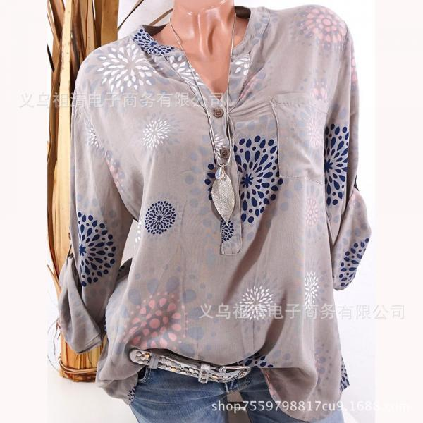 Plus Size Women Blouse V Neck Long Sleeve Button Printed Casual Tops Loose Shirt light brown