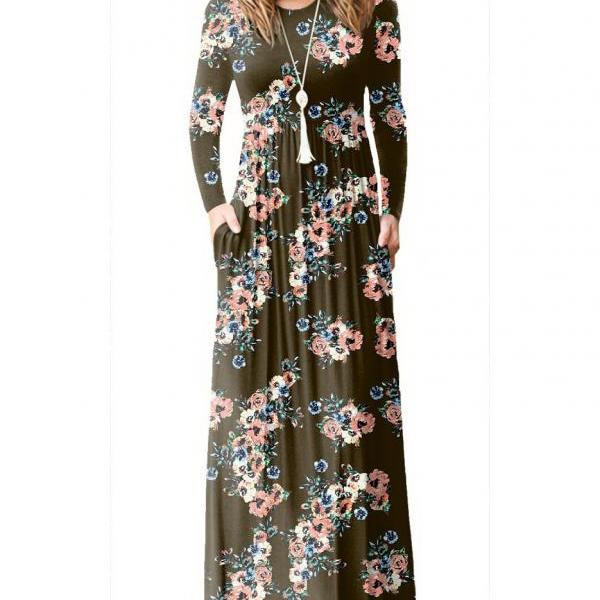 Women Floral Print Maxi Dress Long Sleeve Pockets Beach Boho Long Casual Party Dress coffee