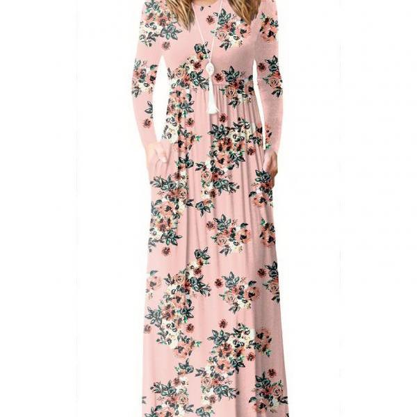 Women Floral Print Maxi Dress Long Sleeve Pockets Beach Boho Long Casual Party Dress pink