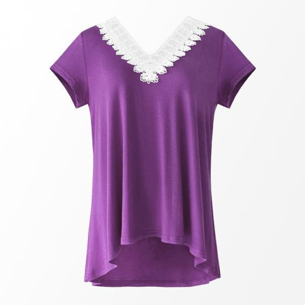 Women Summer T Shirt V Neck Short Sleeve Slim Lace Patchwork Casual Tee Tops purple