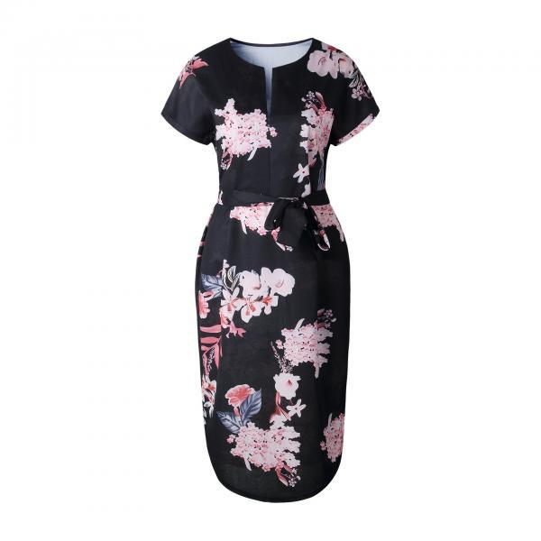 Women Asymmetrical Casual Dress Short Sleeve V Neck Belted Floral Print Midi Party Dress6#