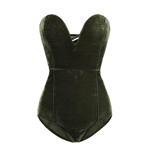 Army Green Strapless Sweetheart Velvet Bodysuit Featuring Lace-Up Back