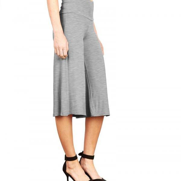 Women Wide Leg Pants High Waist Knee Length Summer Casual Loose Streetwear Trouses gray