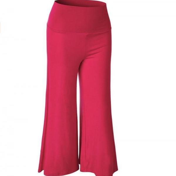 Women Wide Leg Pants High Waist Knee Length Summer Casual Loose Streetwear Trouses hot pink