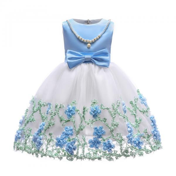 Embroidery Flower Girl Dress Pearl Formal Party Birthday Tutu Gowns Children Clothes light blue