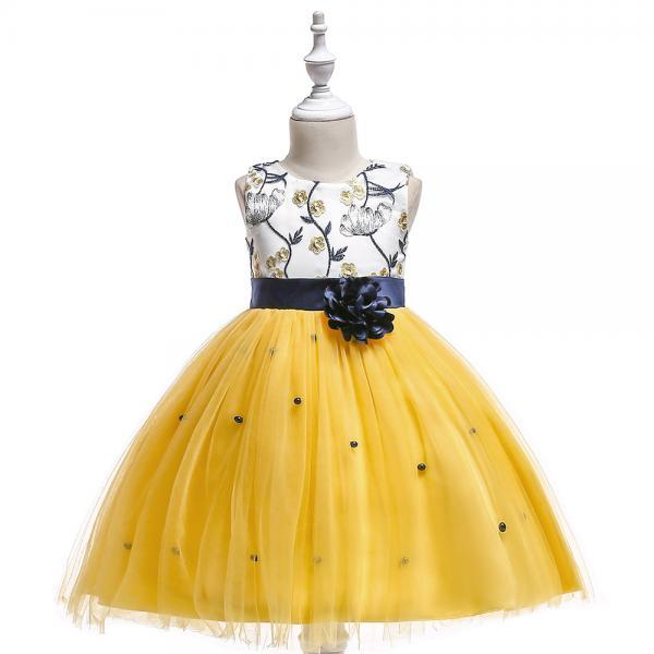 Embroidery Flower Girl Dress First Communion Birthday Party Gown Children Clothes yellow