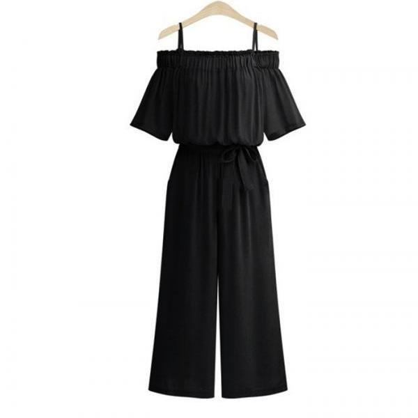 Women Wide Leg Jumpsuit Spaghetti Strap Off Shoulder Belted Casual Long Rompers Playsuit black