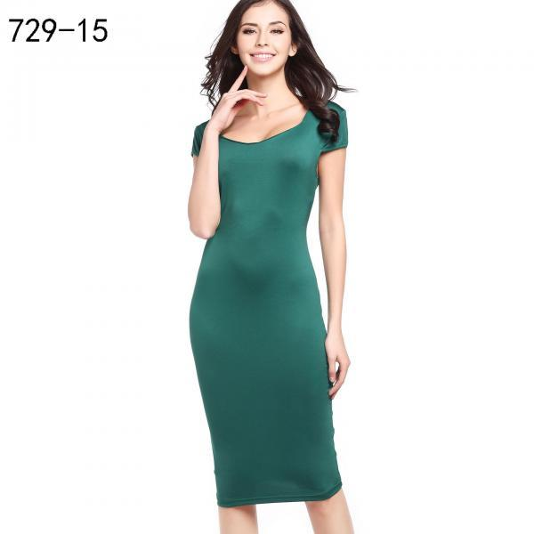 Women Pencil Dress Short Sleeve Floral/Polka Dot Bodycon Slim Work Office Party Dress 729-15