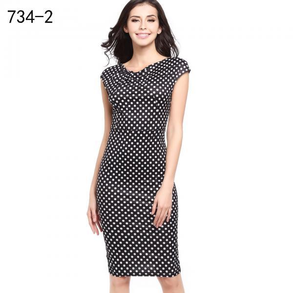 Women Floral Printed Pencil Dress Cap Sleeve Slim Bodycon Work Office Party Dress 734-2#