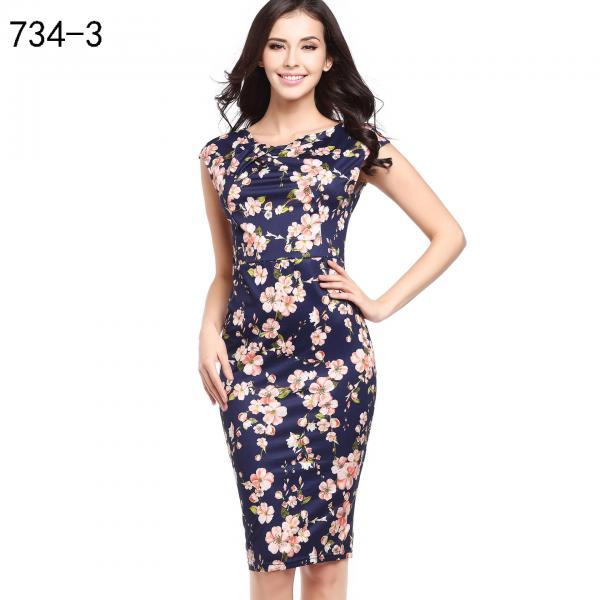 Women Floral Printed Pencil Dress Cap Sleeve Slim Bodycon Work Office Party Dress 734-3#