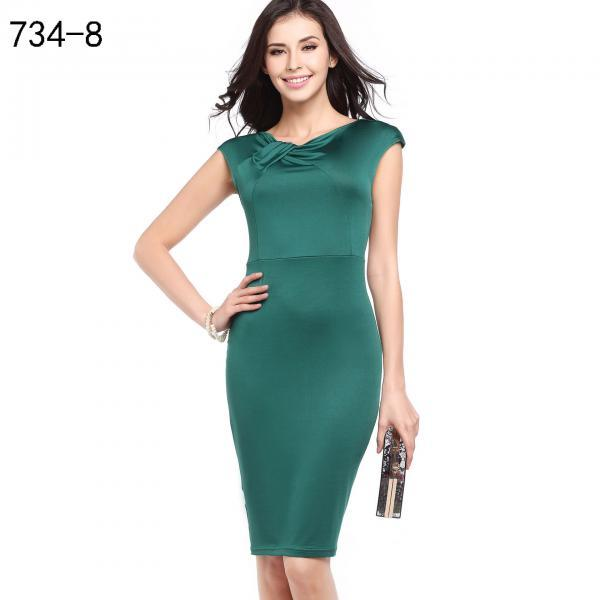 Women Floral Printed Pencil Dress Cap Sleeve Slim Bodycon Work Office Party Dress 734-8#