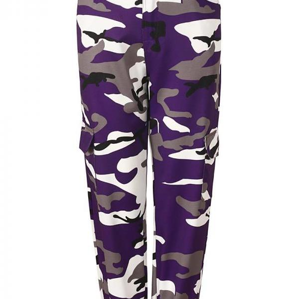 Women Camouflage Harem Pants Casual Loose Jogger Camo Cargo Trousers Sweatpants purple