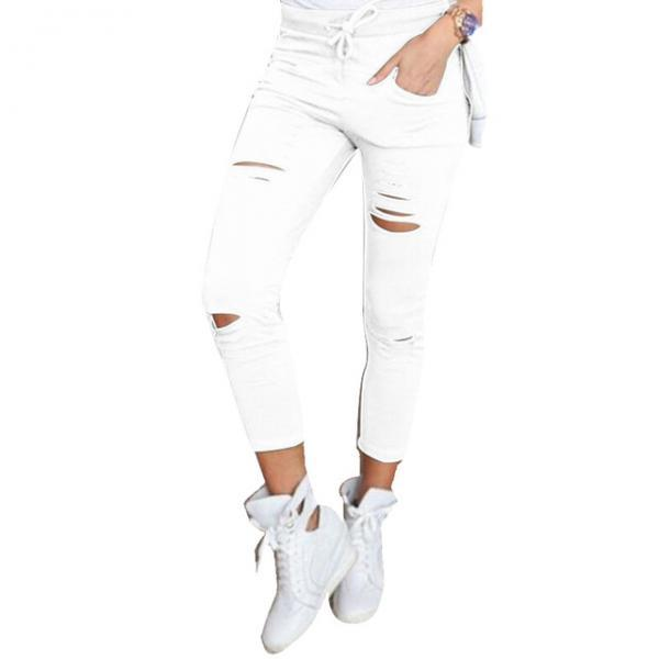 Women Pencil Pants Drawstring High Waist Ripped Holes Casual Skinny Leggings Trousers off white