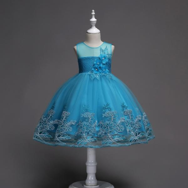 Lace Flower Girl Dress Sleeveless Princess Wedding Birthday Party Wear Kid Clothes blue