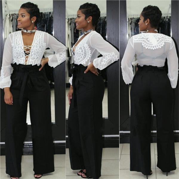 Women Wide Leg Pants High Waist Solid Belted OL Office Work Casual LooseLong Trousers black