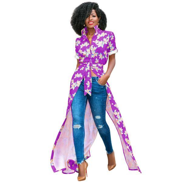 Women Floral Printed Maxi Dress Short Sleeve Button Split Turn Down Collar Casual Boho Long Shirt Dress purple