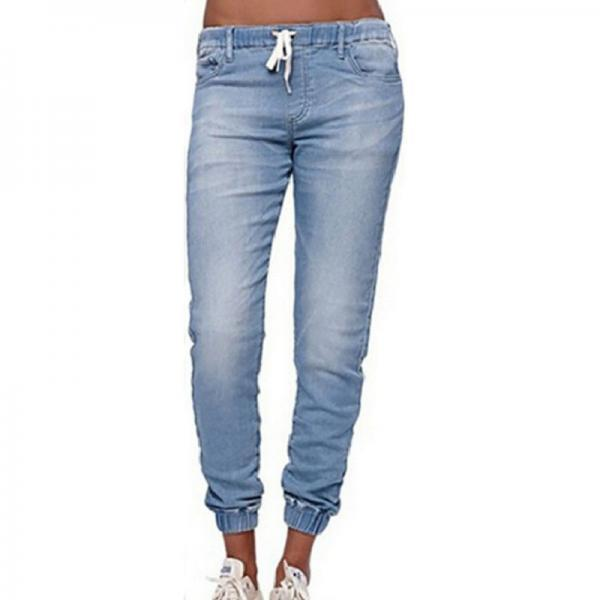 Women Denim Pants Drawstring Waist Plus Size Slim Casual Jogger Sexy Skinny Pencil Jeans Trousers light blue