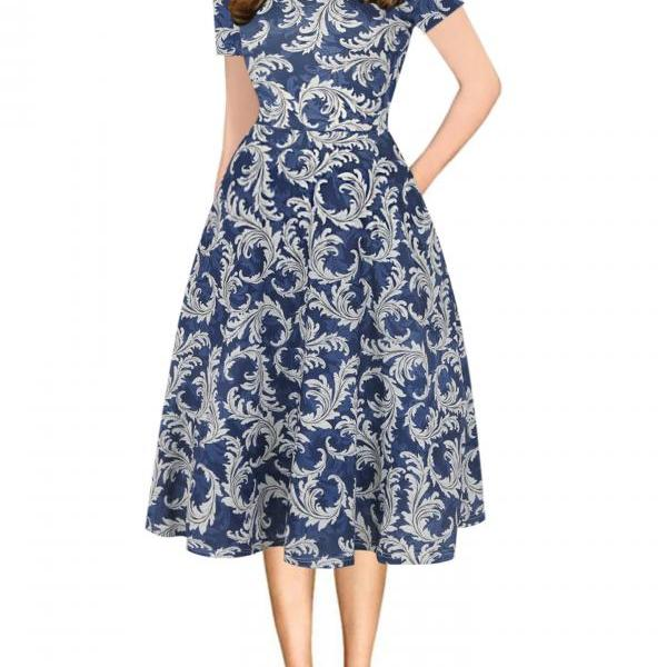 Women Floral Printed Slim Dress Vintage Short Sleeve Knee Length A-line Rockabilly Casual Party Dress 6#