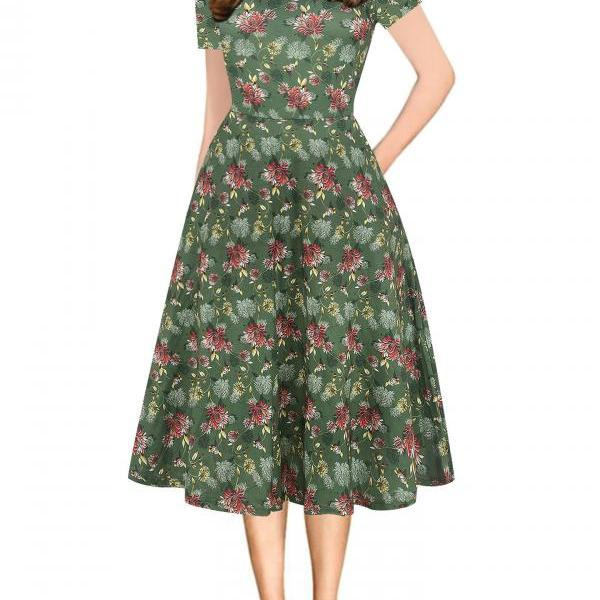 Women Floral Printed Slim Dress Vintage Short Sleeve Knee Length A-line Rockabilly Casual Party Dress 8#