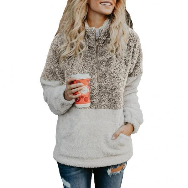 Women Sweatshirt Autumn Winter Warm Turtleneck Long Sleeve Pocket Patchwork Zipper Casual Loose Pullover Tops khaki