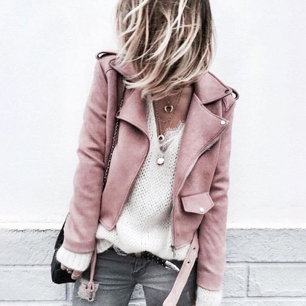 Blush Pink Faux Suede Jacket - Autumn Winter Biker Jacket