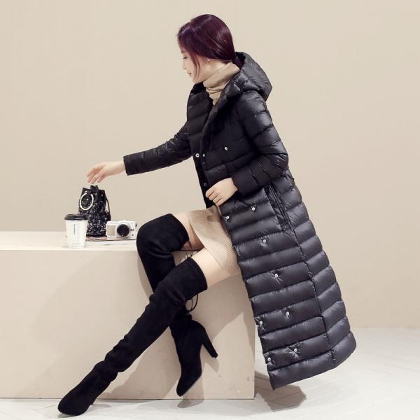 Women Long Duck Down Coat Hooded Long Sleeve Plus Size Slim Winter Ultra Light Jacket Outwear black