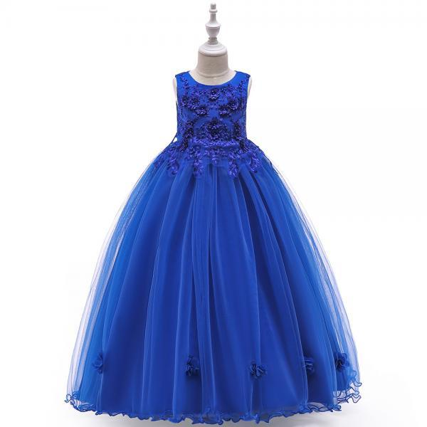 Long Flower Girl Dress Beaded Embroidery Princess Teens Formal Birthday Party Gowns Children Clothes royal blue