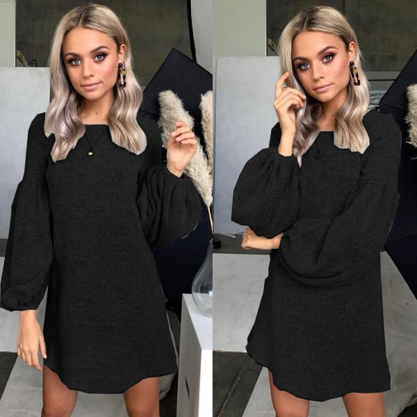 Women Knitted Dress Autumn Winter Long Lantern Sleeve Causal Loose Short A line Sweater Dress black