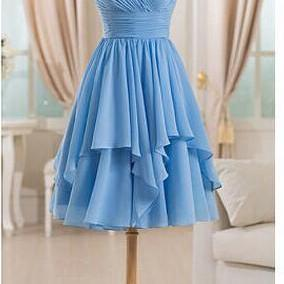 A-Line Short Chiffon Bridesmaid Dresses,Sweetheart Prom Dresses, Mini Homecoming Dresses,
