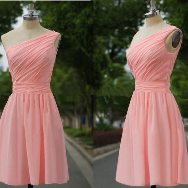 Cute Simple Pink Short One Shoulder Bridesmaid Dresses, Prom dress,Homecoming Dresses