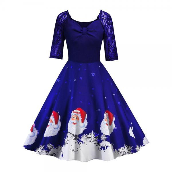Women Printed Dress Vintage Half Sleeve Christmas Lace Patchwork Casual Evening Party Swing Dress blue