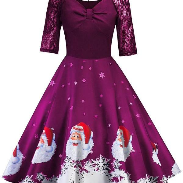 Women Printed Dress Vintage Half Sleeve Christmas Lace Patchwork Casual Evening Party Swing Dress purple