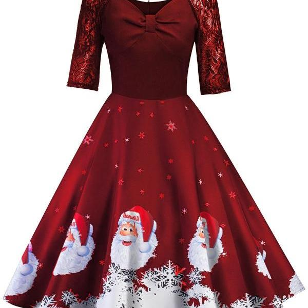 Women Printed Dress Vintage Half Sleeve Christmas Lace Patchwork Casual Evening Party Swing Dress red