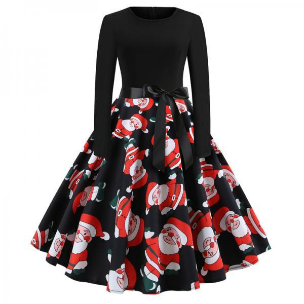 Women Christmas Dress Vintage Casual Long Sleeve Belted A Line Floral Printed Formal Party Dress 2#