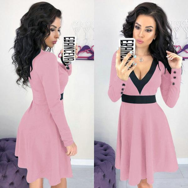 Women Casual Dress Sexy V Neck Patchwork Contrast Color Long Sleeve A-Line Club Party Dress pink