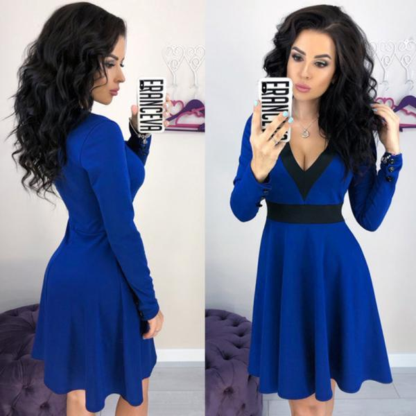 Women Casual Dress Sexy V Neck Patchwork Contrast Color Long Sleeve A-Line Club Party Dress royal blue