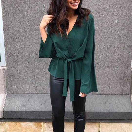 Women Blouse Autumn Elegant V-Neck Long Flare Sleeve Bow Tie CasualBandage Tops Shirt green