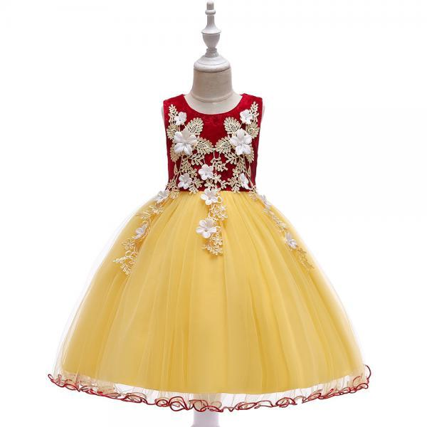 Princess Flower Girl Dress Sleeveless Lace Formal Birthday Prom Party Tutu Gown Children Kids Clothes crimson