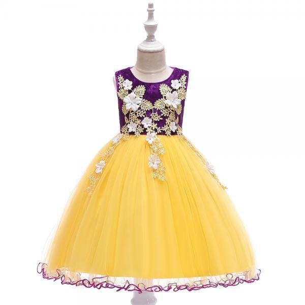 Princess Flower Girl Dress Sleeveless Lace Formal Birthday Prom Party Tutu Gown Children Kids Clothes purple
